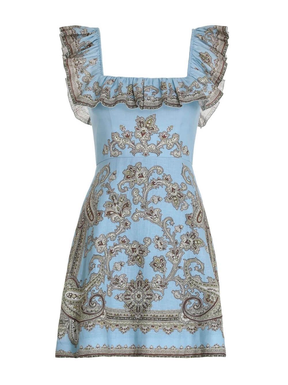 Fiesta Ruffle Neck Short Dress Item # 8330DFIE