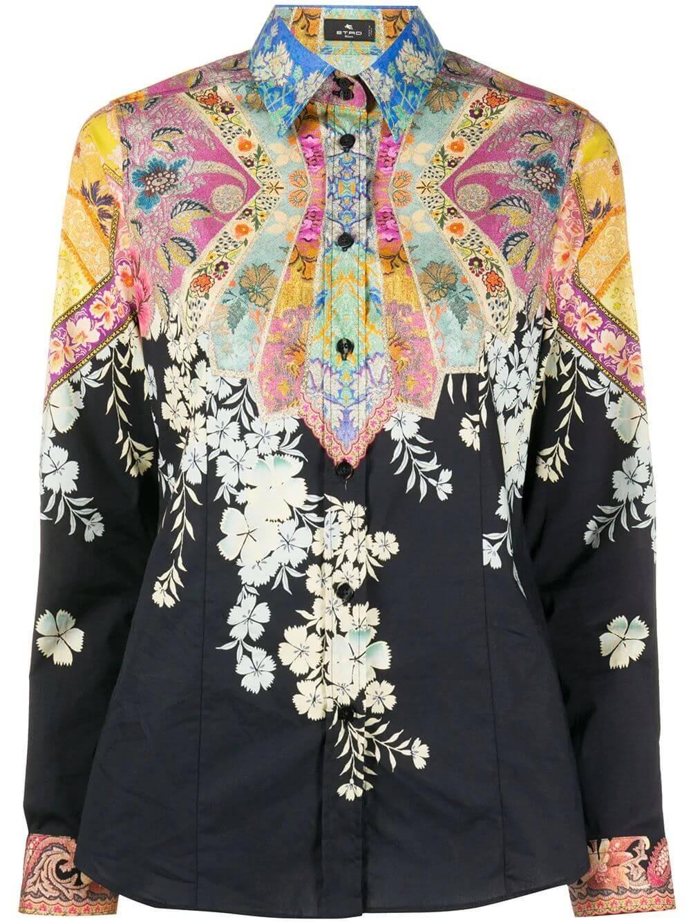 Camicia Sciancrata Multi Cotton Blouse Item # 19030-9045