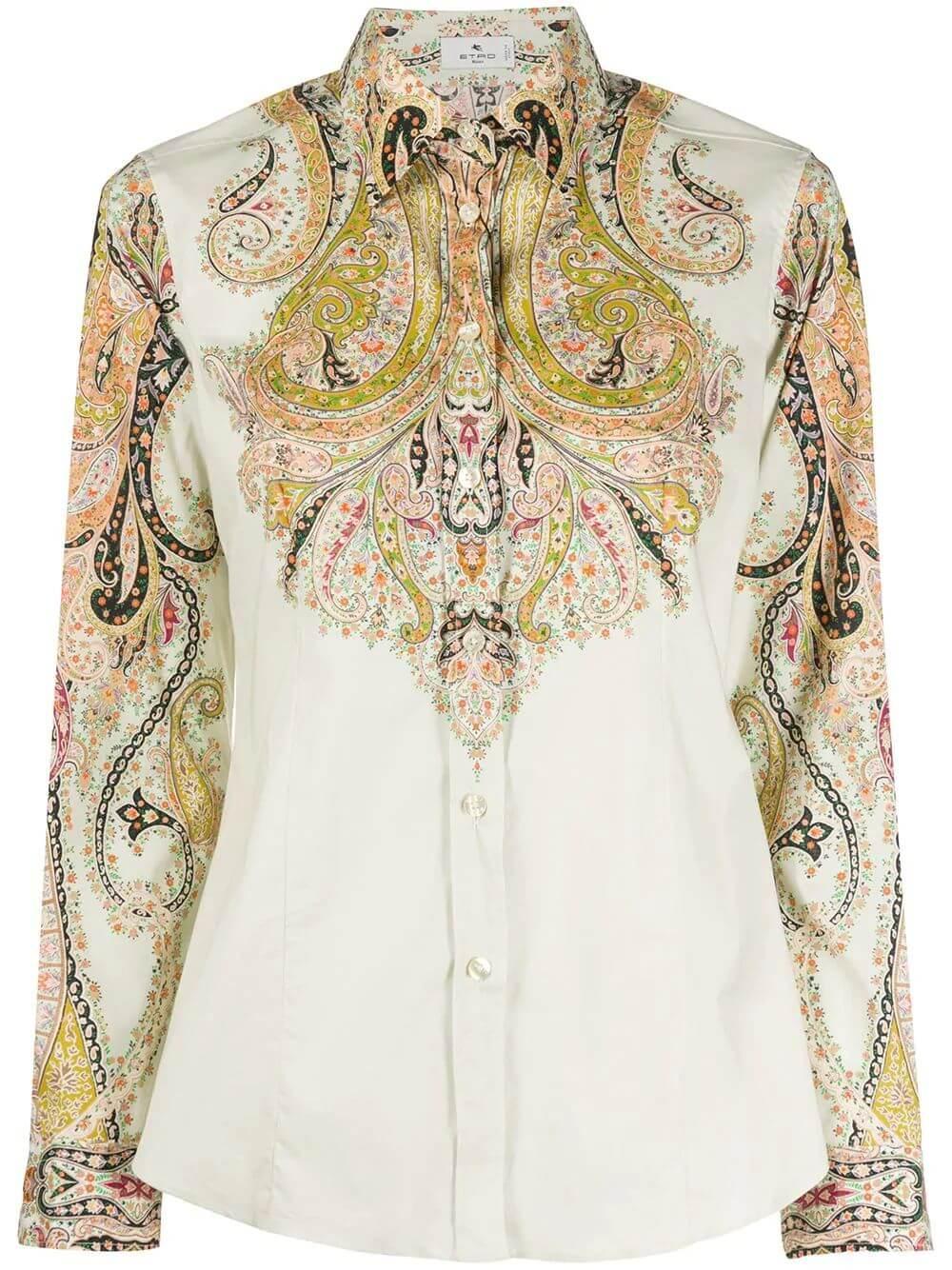 Camicia Sciancrata Paisley Cotton Blouse Item # 19030-9044
