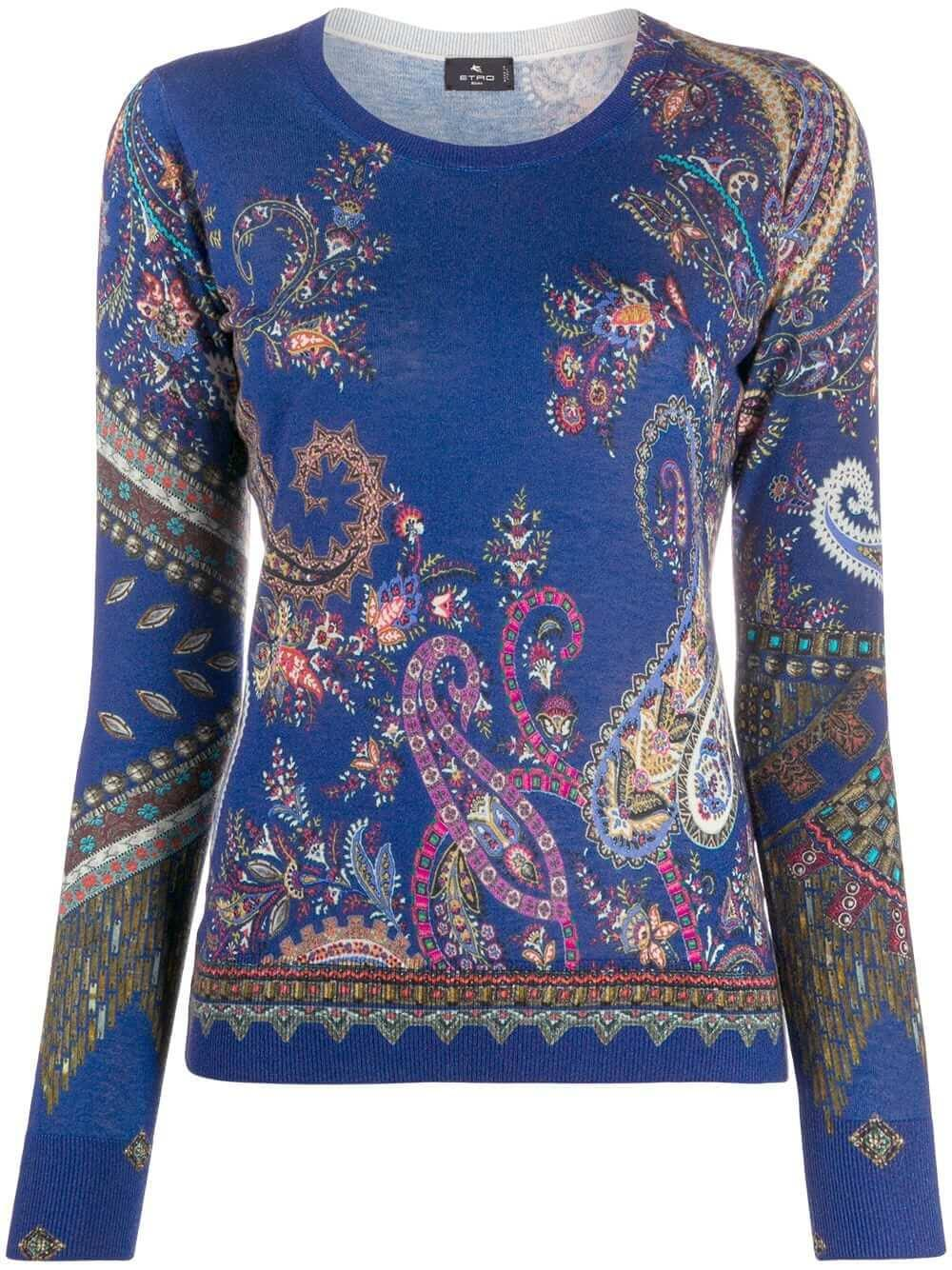 Maglia Open Neck Sweater With Blue Ground Item # 19367-9182