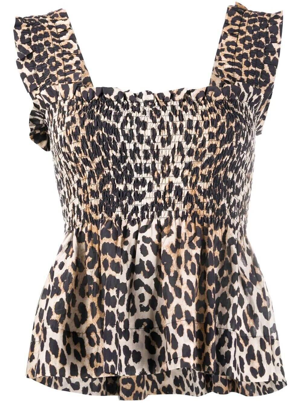 Leopard Peplum Ruched Sleeveless Top