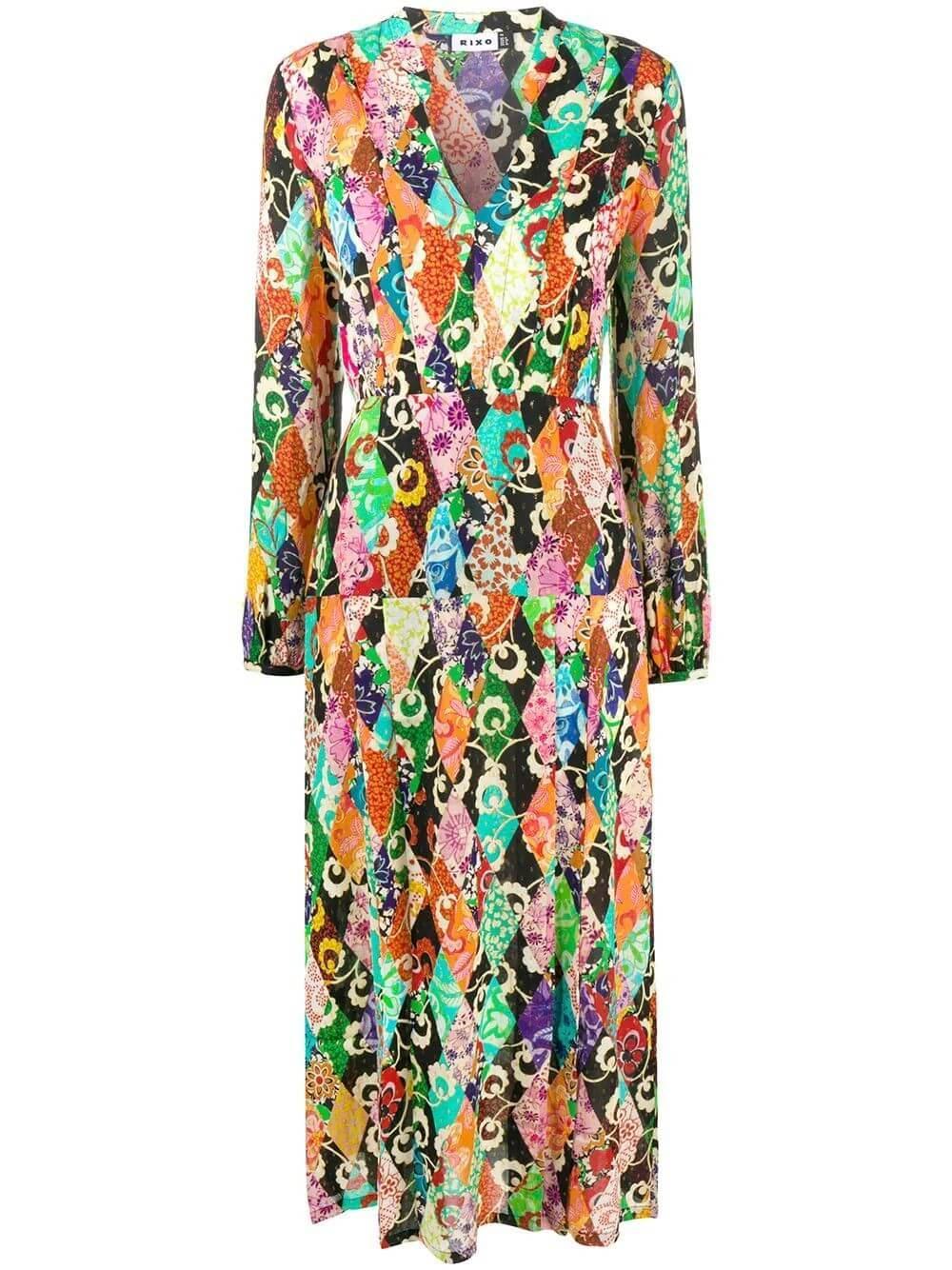 Long Sleeve Carwash Skirt Midi Dress Item # RIX10-570-320-887
