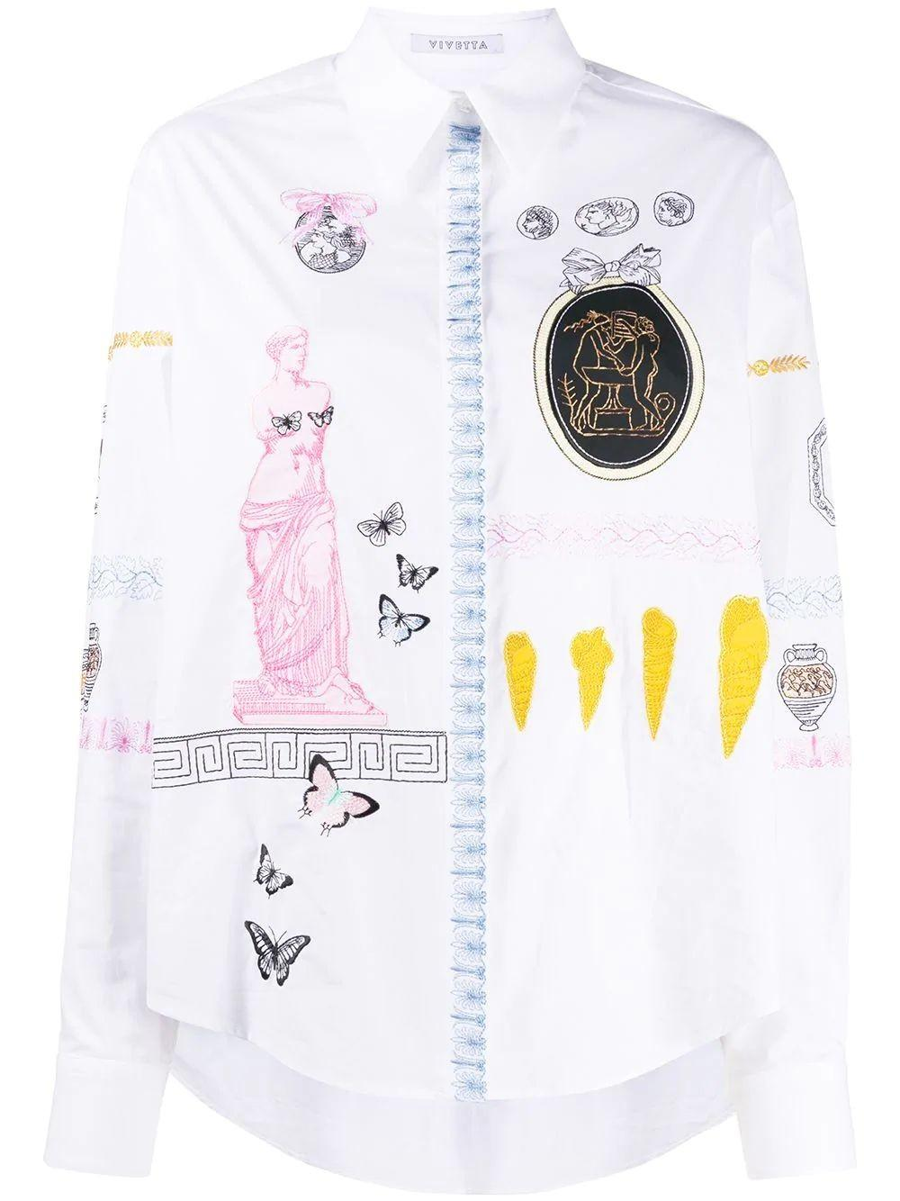 Button Down Shirt With Floral Embroidery Item # G031-0650