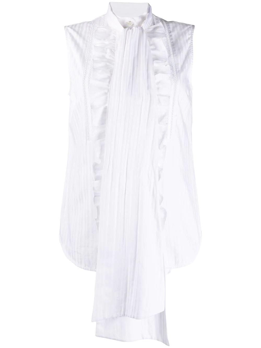 Sleeveless Cotton Tie Neck Cotton Shirt Item # 2320WSH001404A