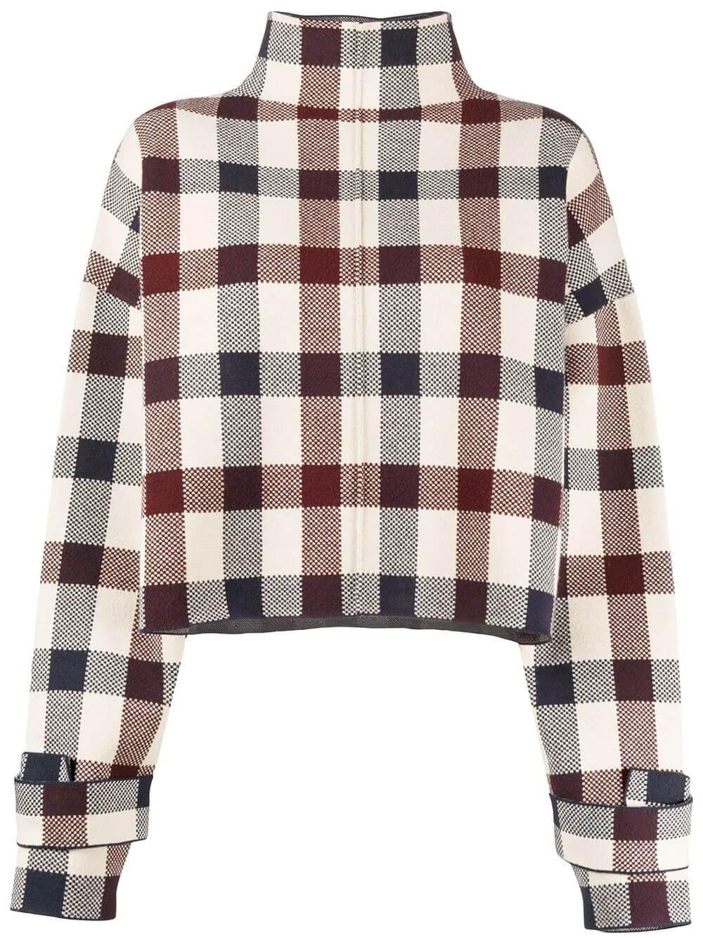 Long Sleeve Funnel Neck Plaid Sweater