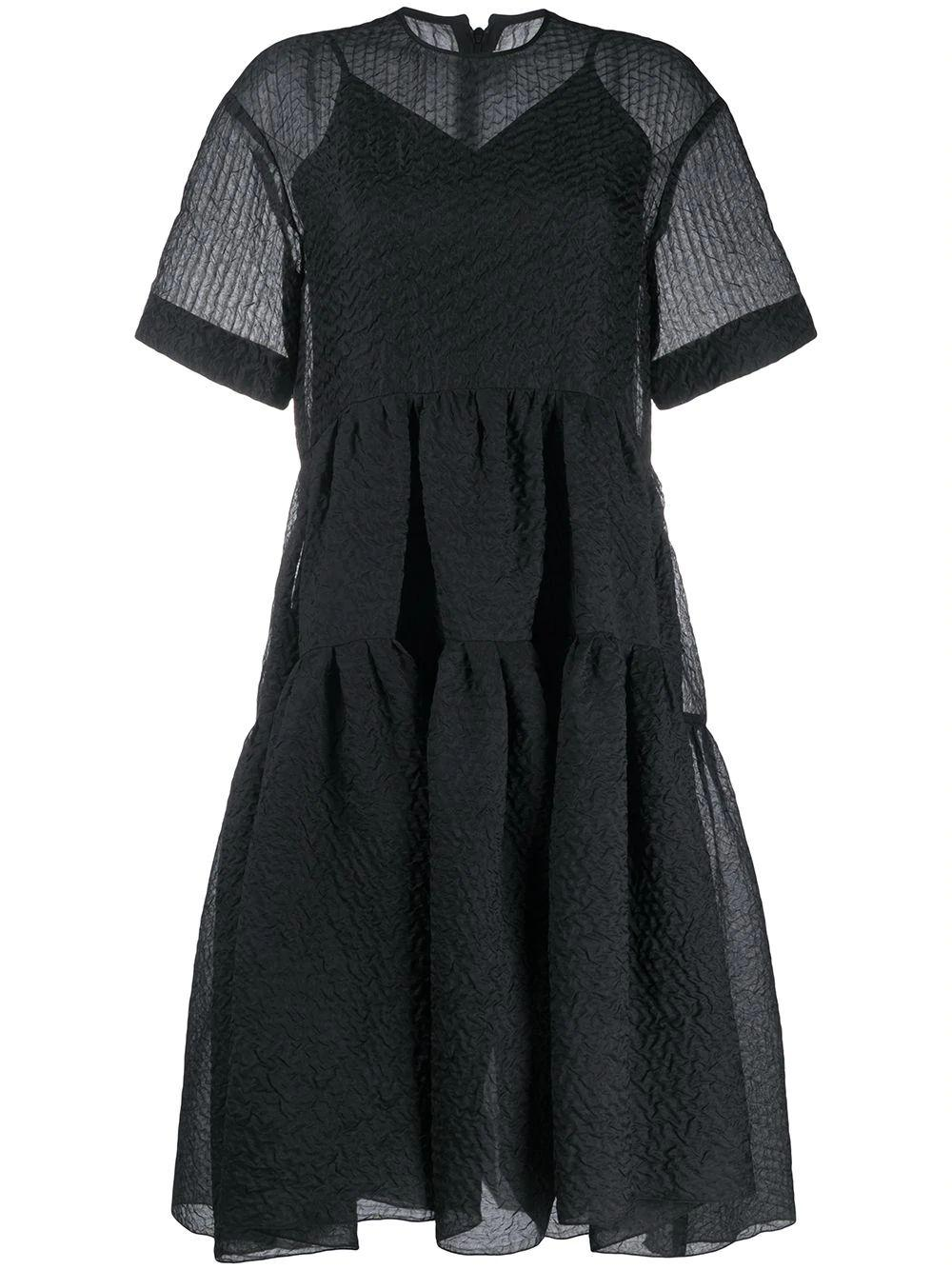 Elbow Sleeve Exaggerated Cocoon Dress Item # 2320WDR001612A