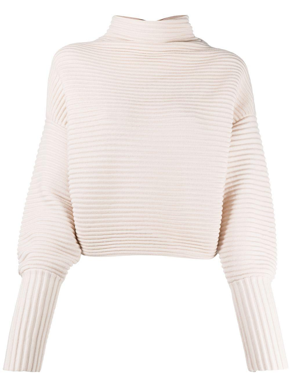 Long Sleeve Ribbed Crossover Back Sweater