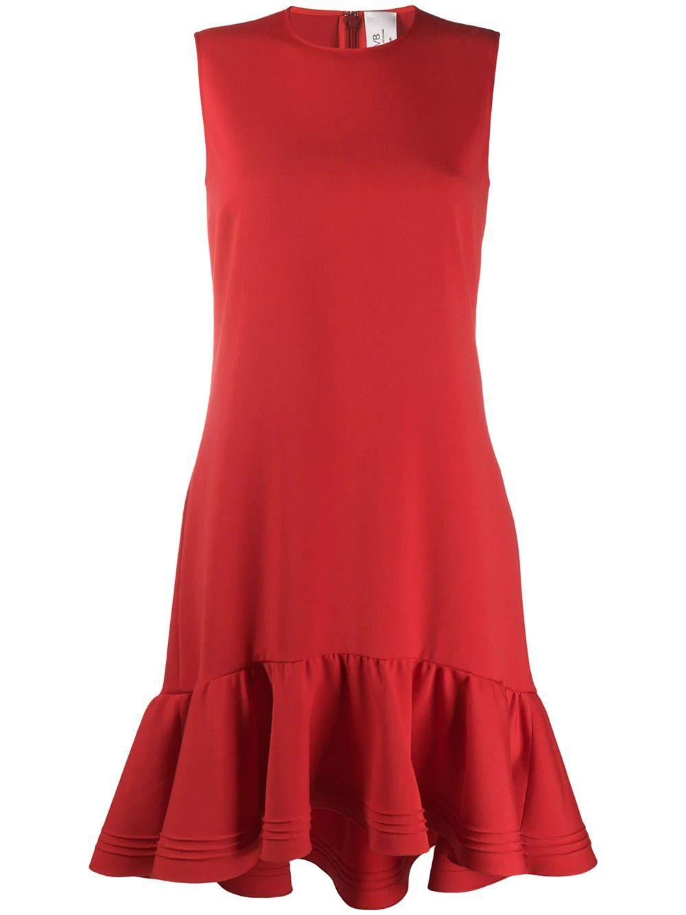 Sleeveless Pintuck Flounce Hem Shift Dress