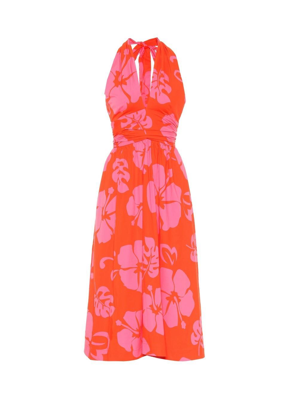 Moana Printed Cotton Halter Dress Item # 148-7325-RDHB