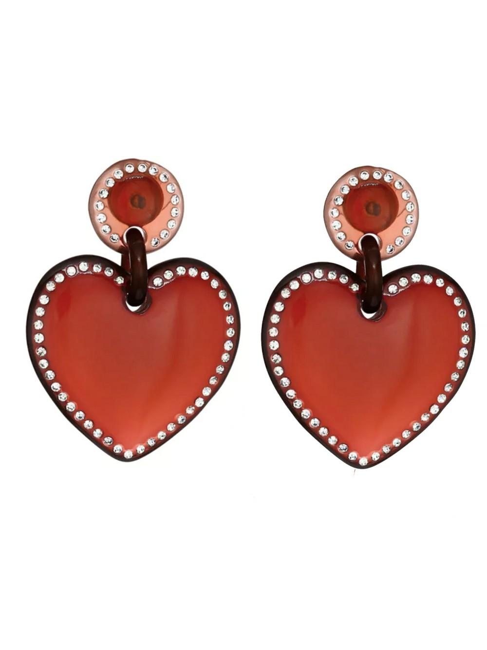 Jeweled Stitched Heart Earrings Item # LS0966RB