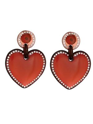 Jeweled Stitched Heart Earrings