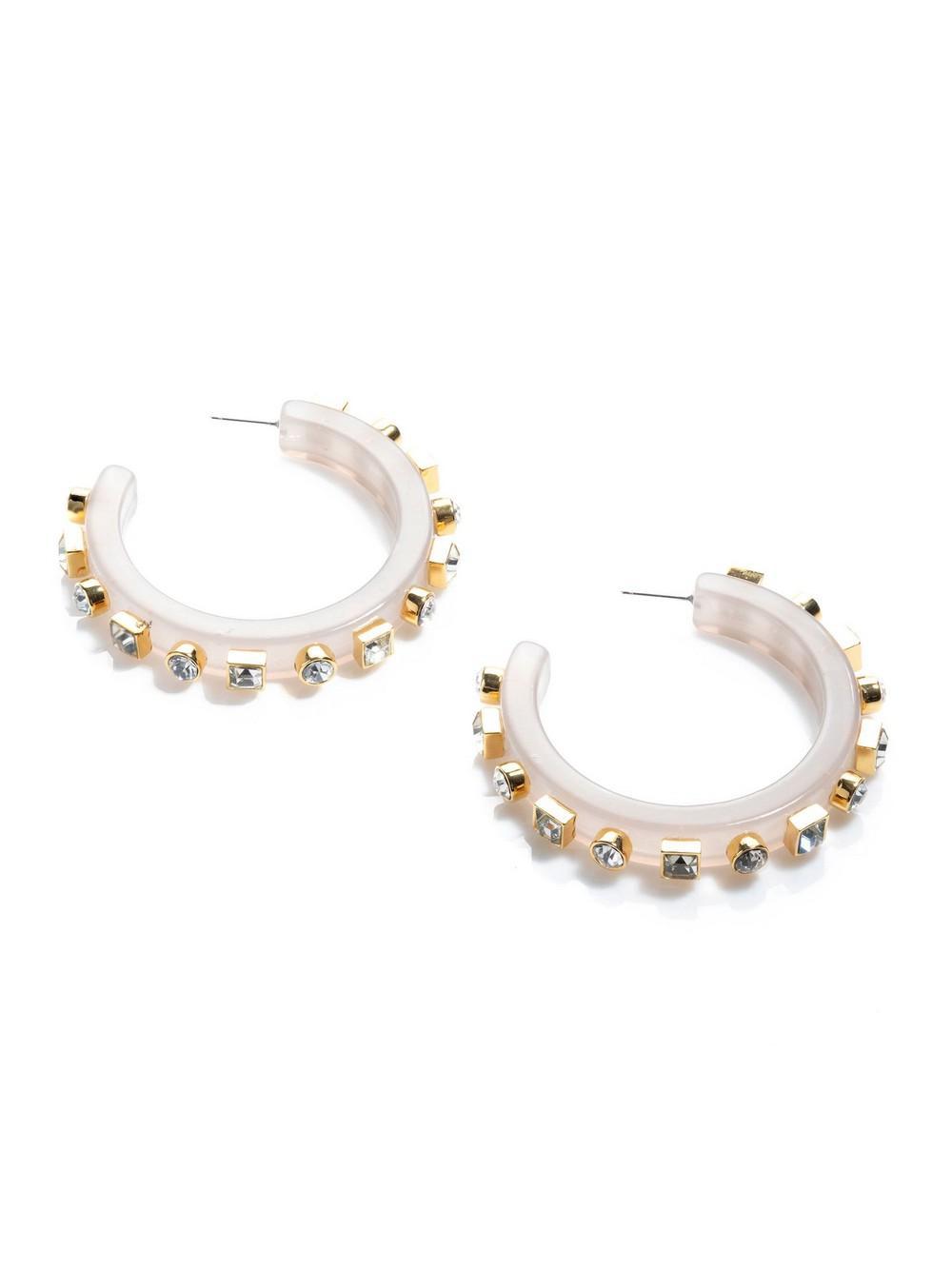 Crystal Block Hoop Earrings Item # LS0912LI