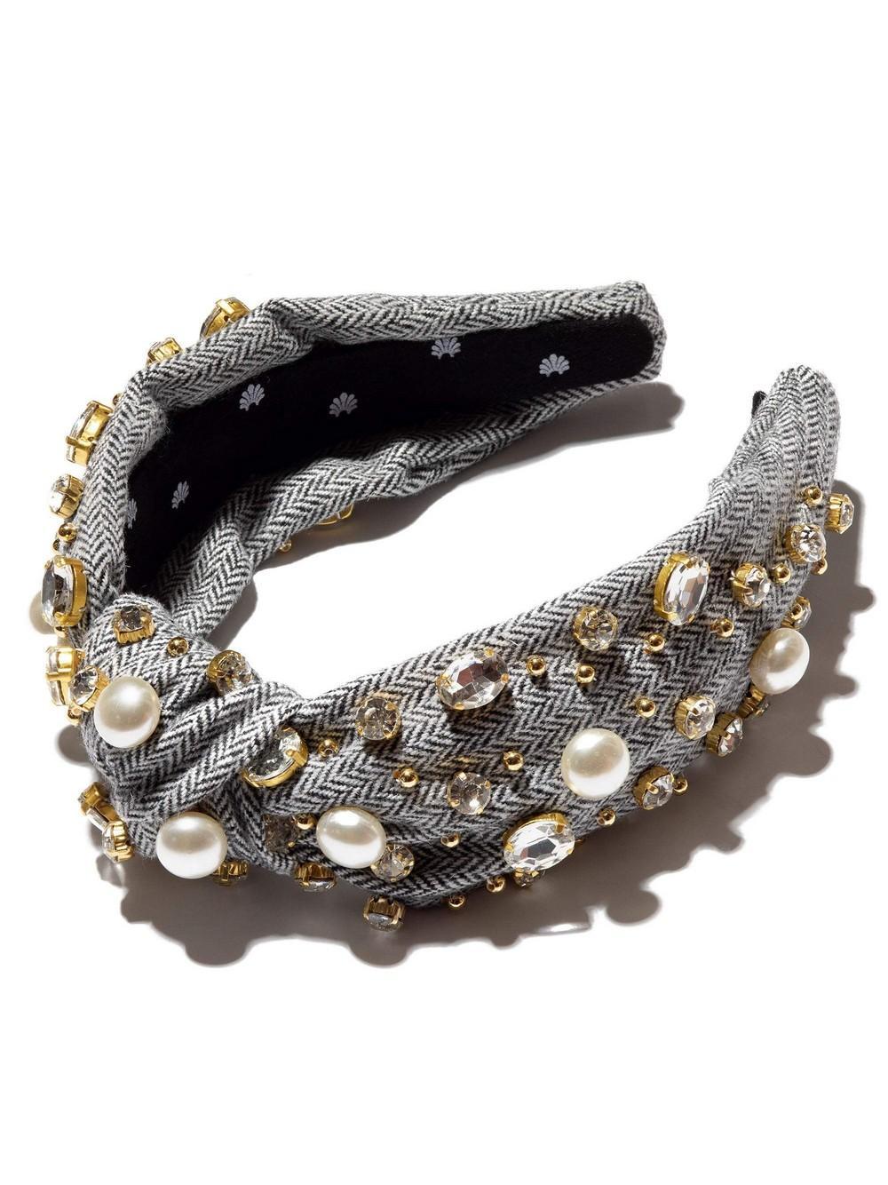 Oversized Tweed Pearl And Crystal Headband Item # LSHA181BW