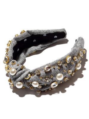 Oversized Tweed Pearl and Crystal Headband