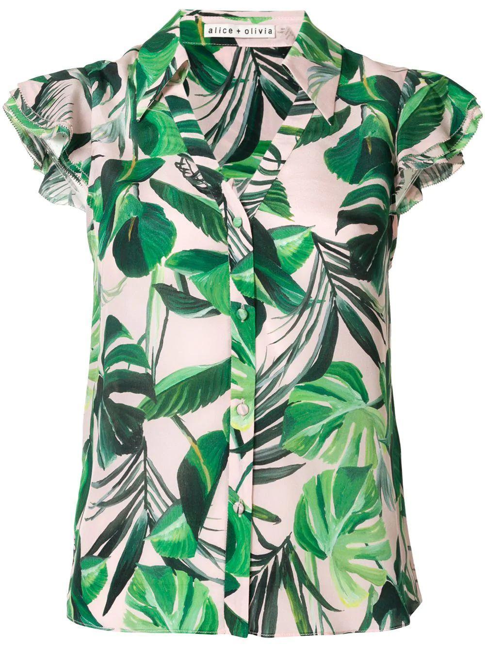 Randa Palm Print Top