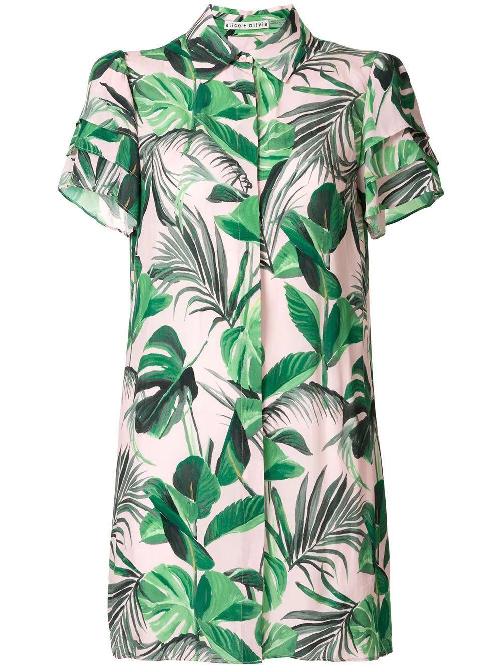 Jem Palm Print Shirt Dress Item # CC005P82544