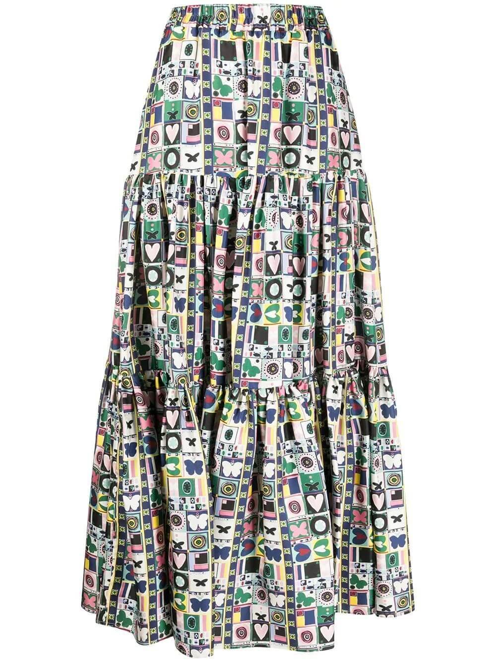 Silk Twill Butterfly Big Skirt Item # SKI0001-SIL001