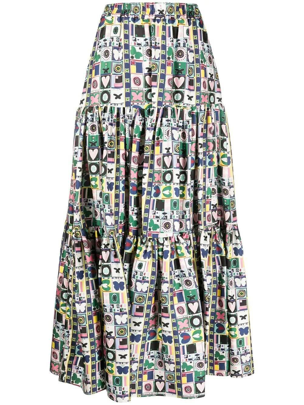 Silk Twill Butterfly Big Skirt