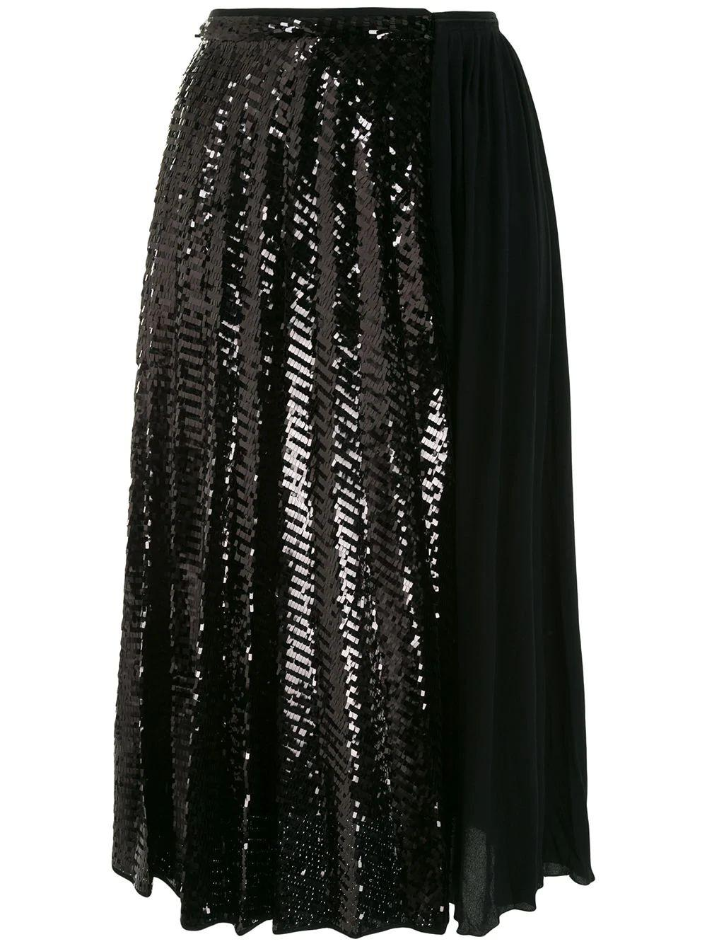 Black Pleated Midi Skirt Item # C071-4890-9000