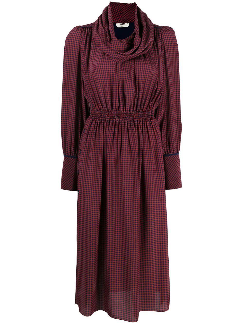Silk Midi Check Dress With Cowl Neck