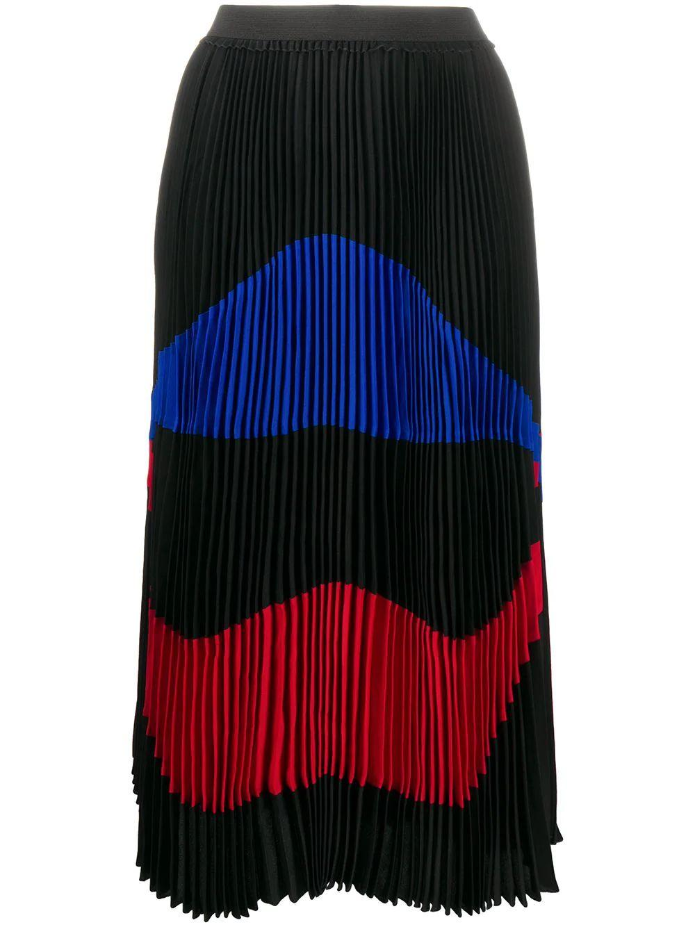 Multicolor Pleated Midi Skirt Item # C061-5111-9000