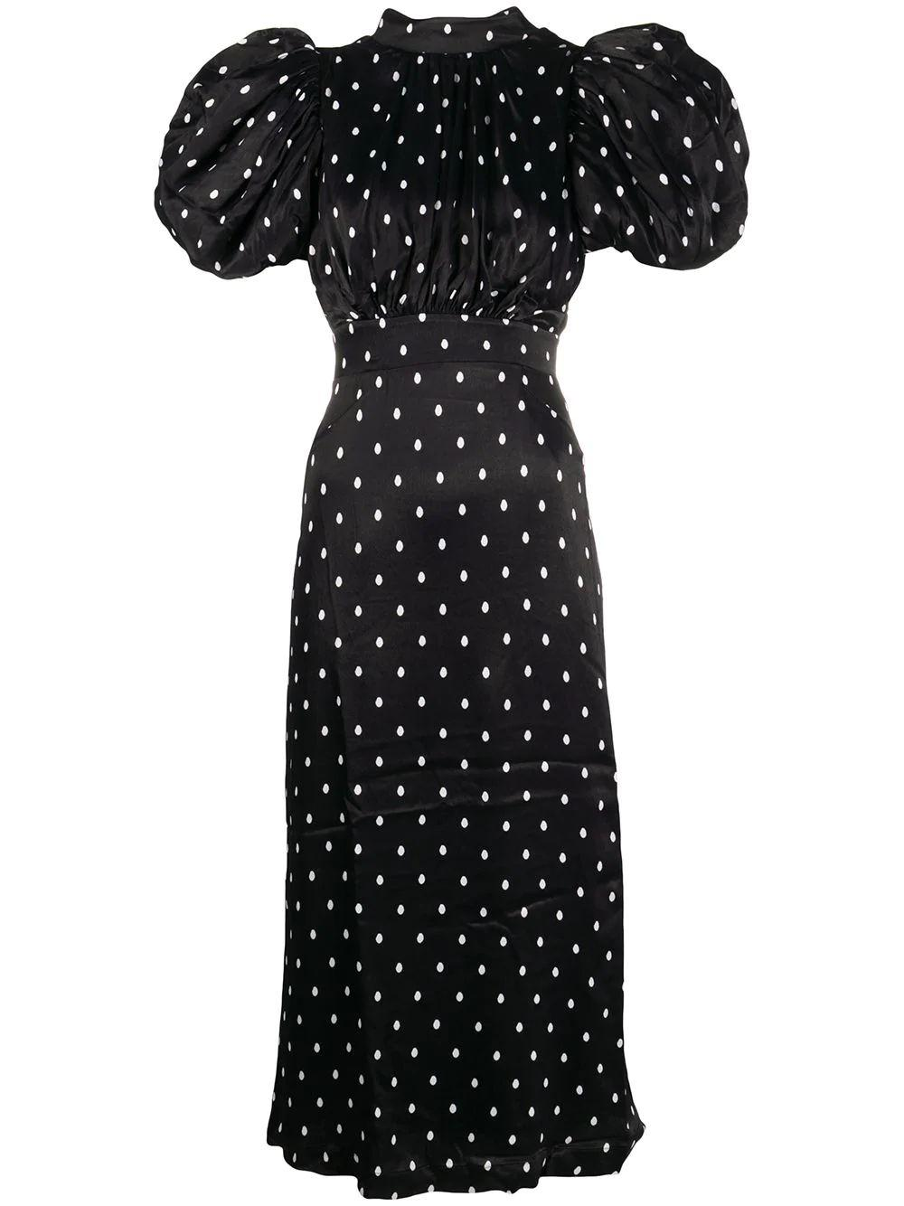 Dawn Puff Sleeve Dot Midi Dress Item # 901523