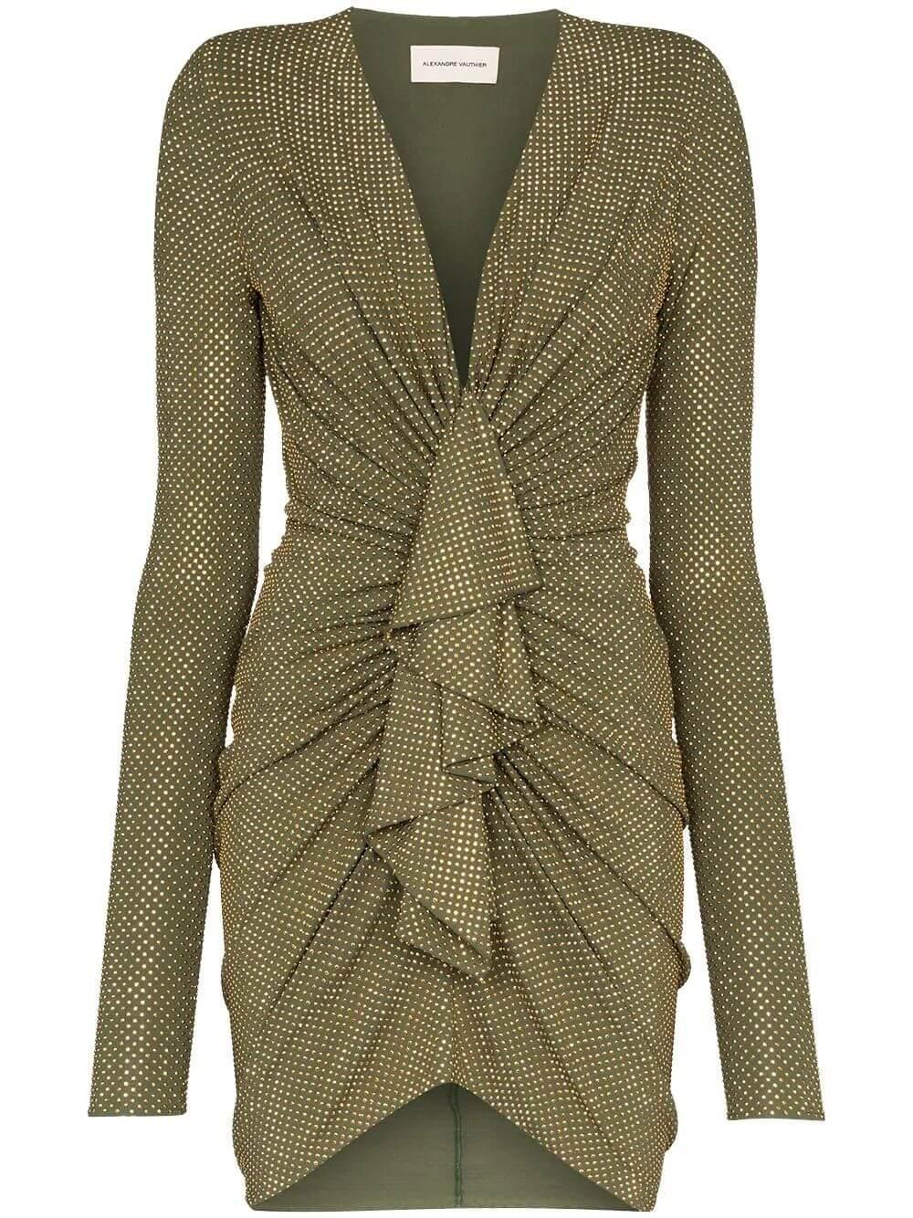 Studded V- Neck Short Dress Item # 203DR1331B