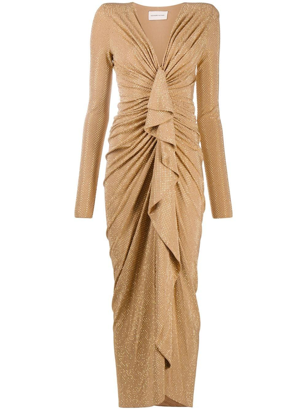 Long Sleeve Studded Jersey Gown With Front Drape Item # 203DR1332B