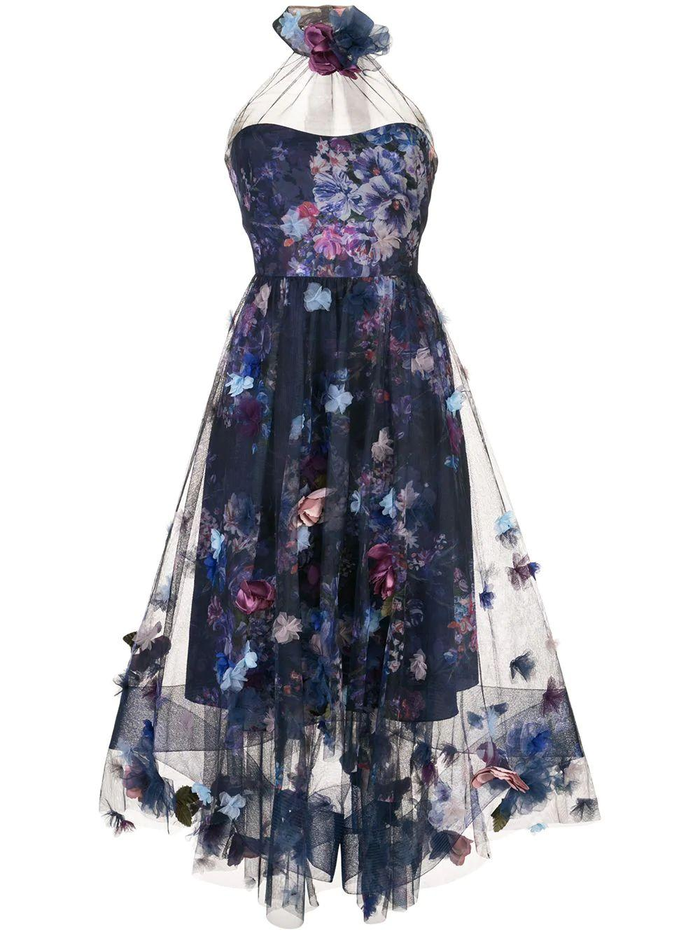 Printed Tulle Tea Length Gown