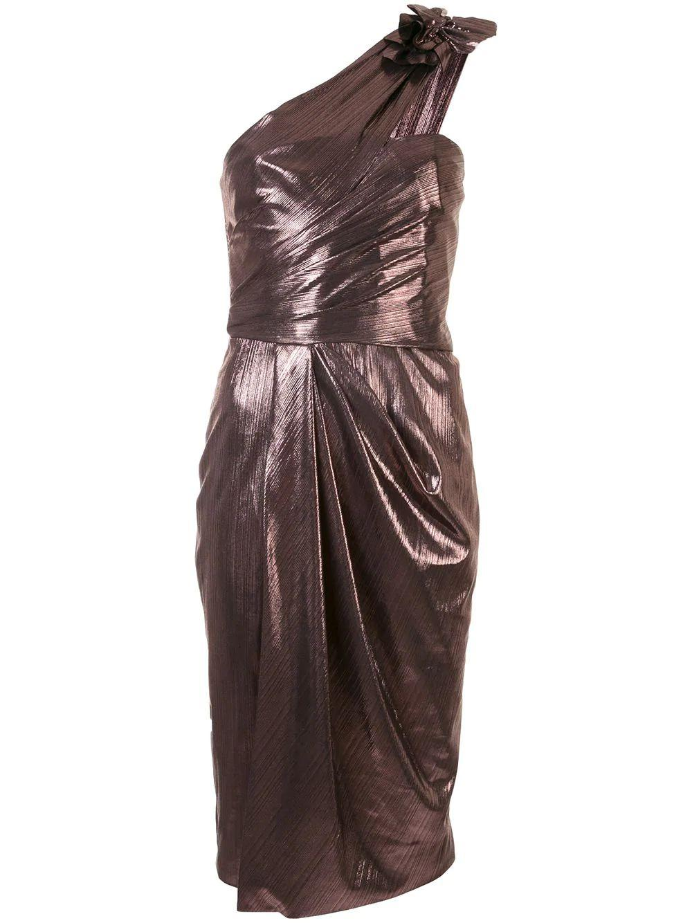 One Shoulder Metallic Drape Dress
