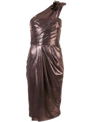 One Shoulder Metallic Drape Dress