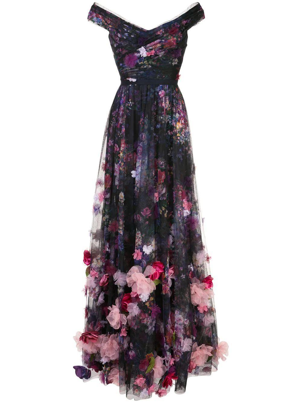 Printed Tulle Gown Item # N40G1955