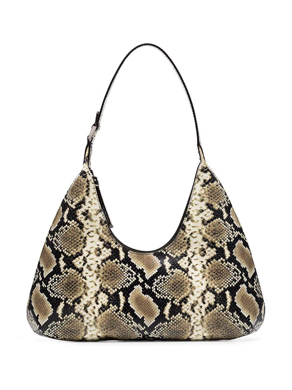 Amber Snake Print Shoulder Bag