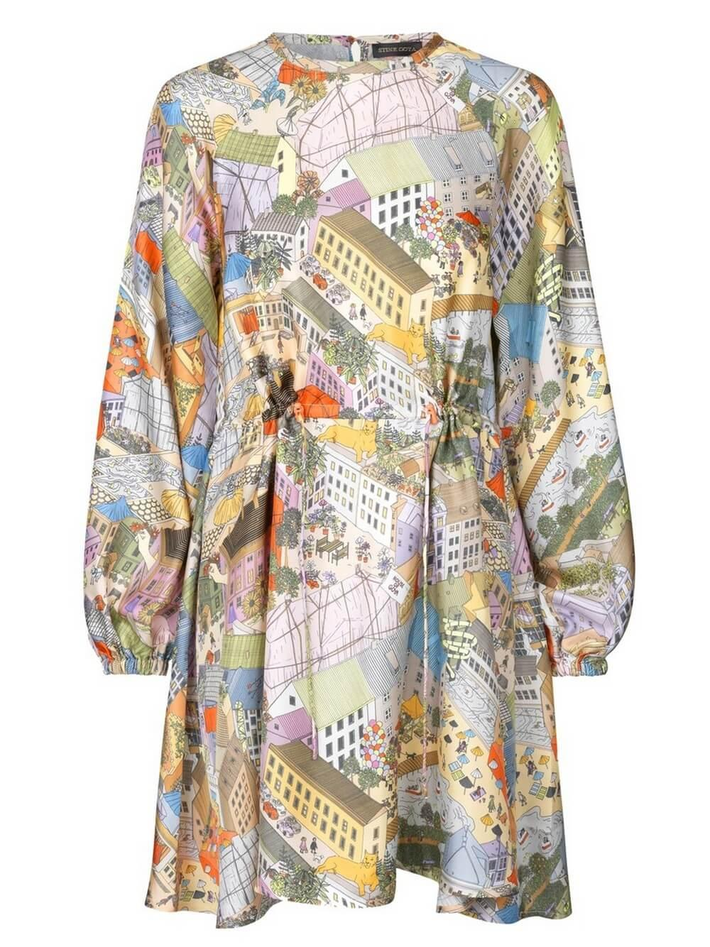 Coco Long Sleeve Printed Silk Dress Item # SG3278