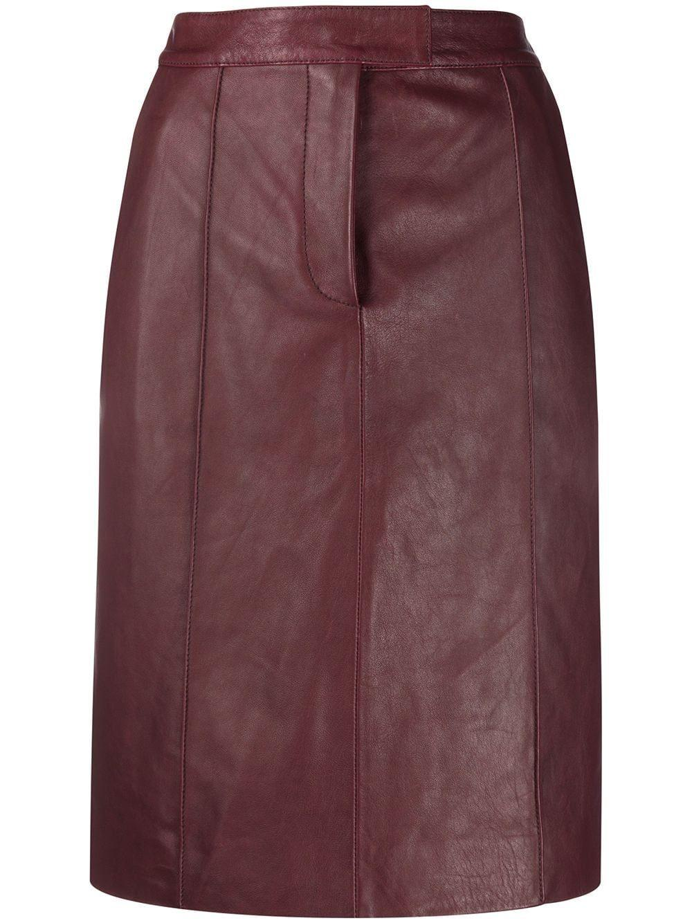 Leather Pannel Belted Skirt Item # 2320LSK001445A