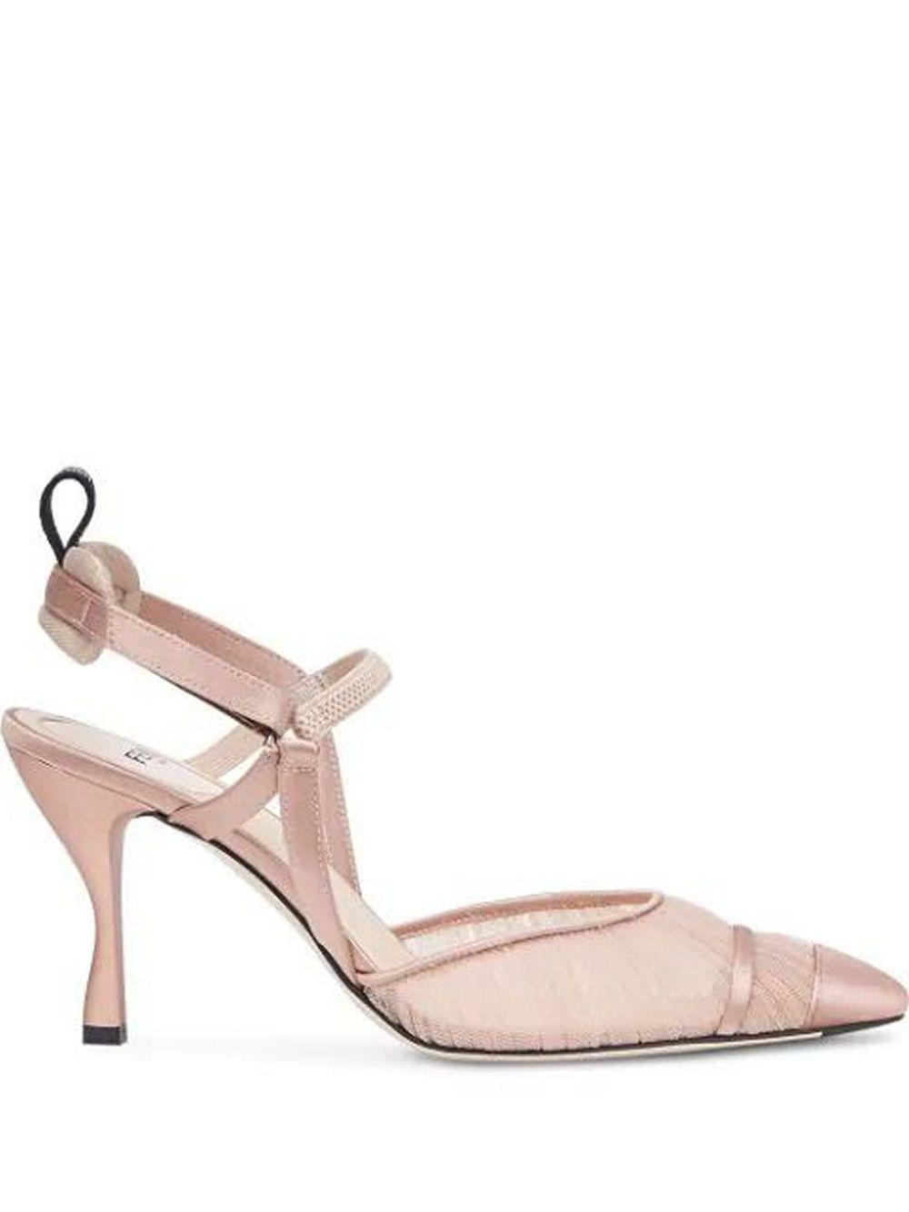 Rouched Tulle 60mm Evening Slingback Heel Item # 8J8040-AC87