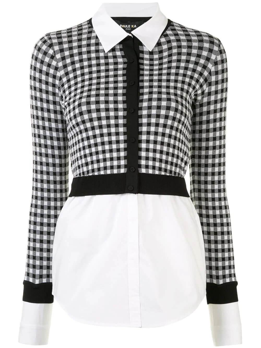 Checked Cropped Cardigan Over Poplin Blouse Item # 402/CA33