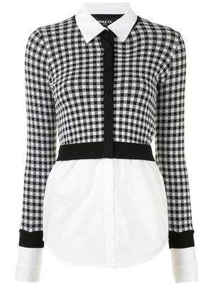 Checked Cropped Cardigan Over Poplin Blouse