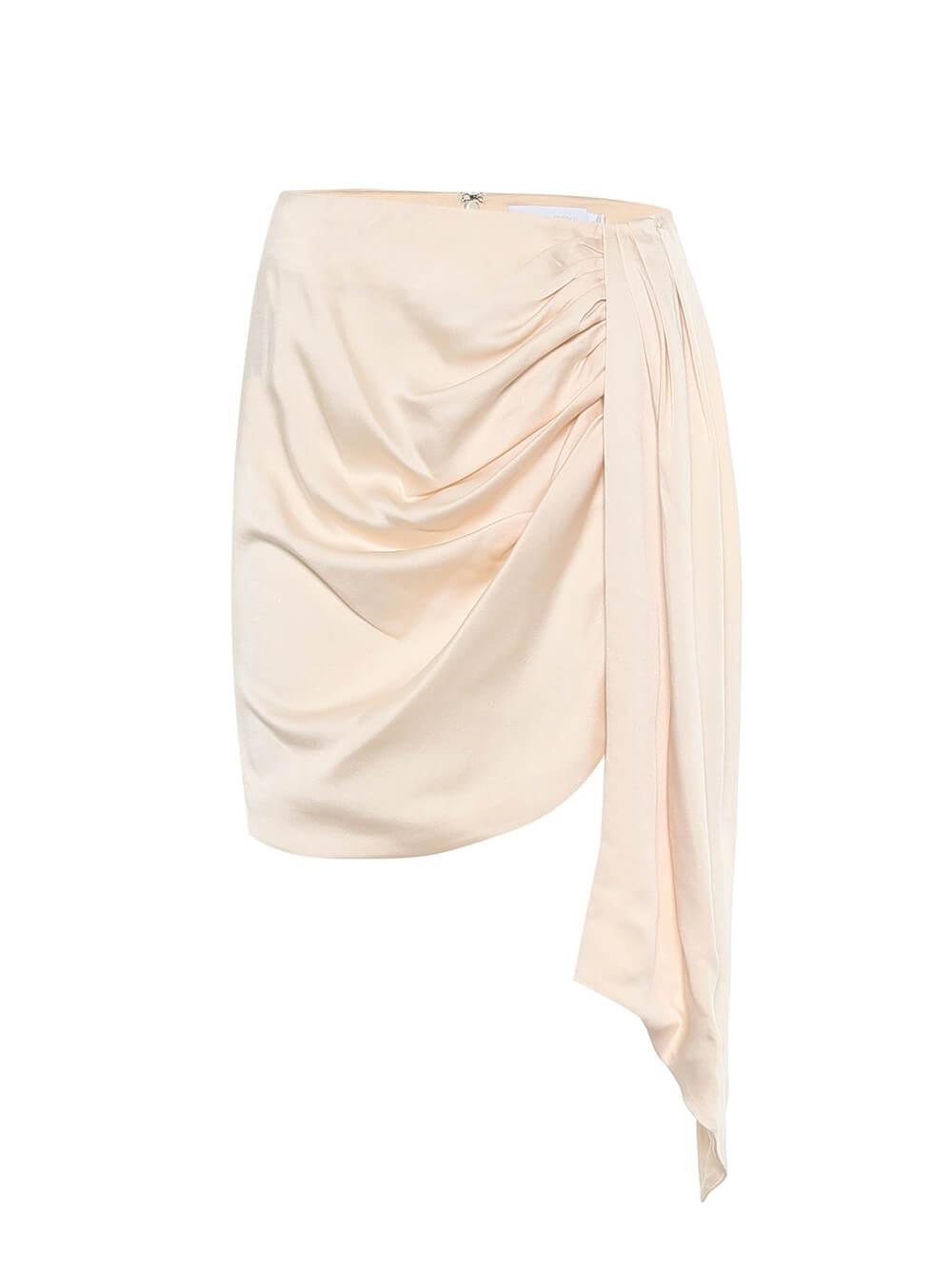 Mae Satin Draped Mini Skirt Item # 420-3019-S