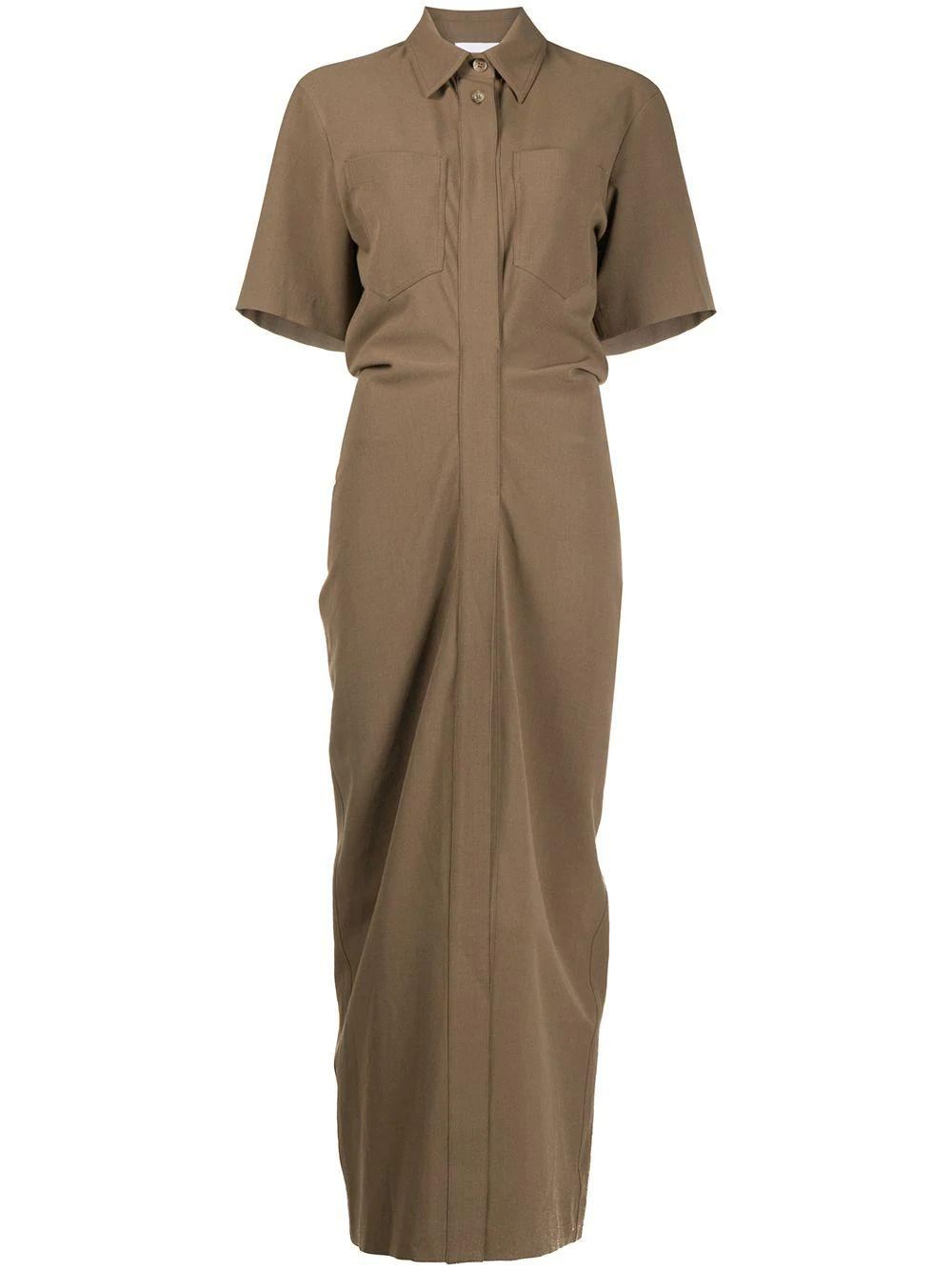 Maak Ruched Middle Shirt Dress