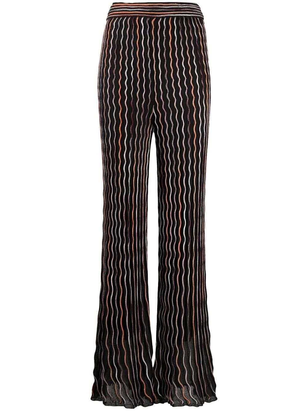 Wave Pattern Knit Pants