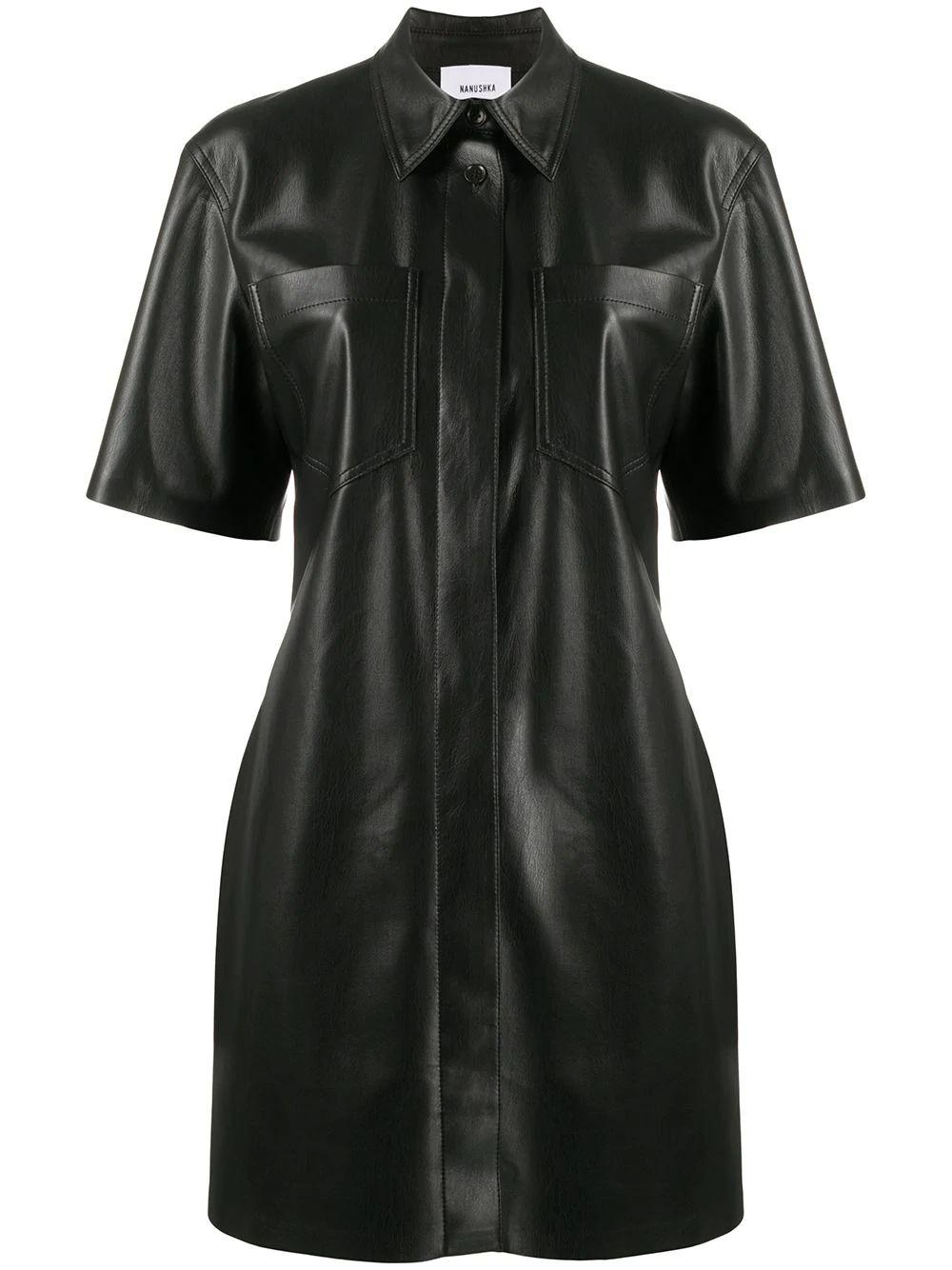 Berto Faux Leather Shirt Dress
