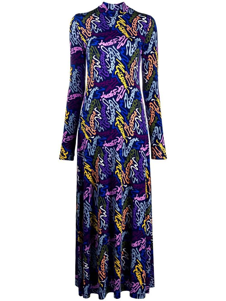 Printed Mock Neck Maxi Dress