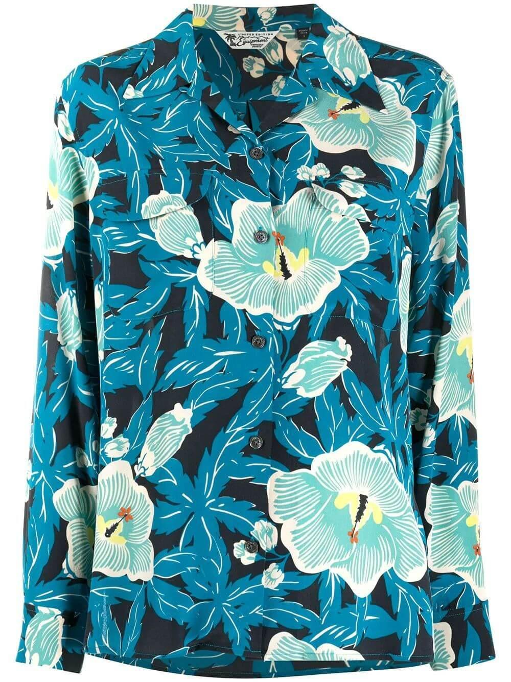 Amaia Saxony Blue Print Blouse Item # 7339-TP03920