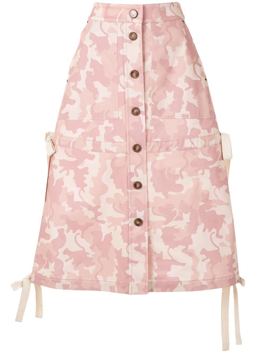 Camo Cat Button Front Skirt