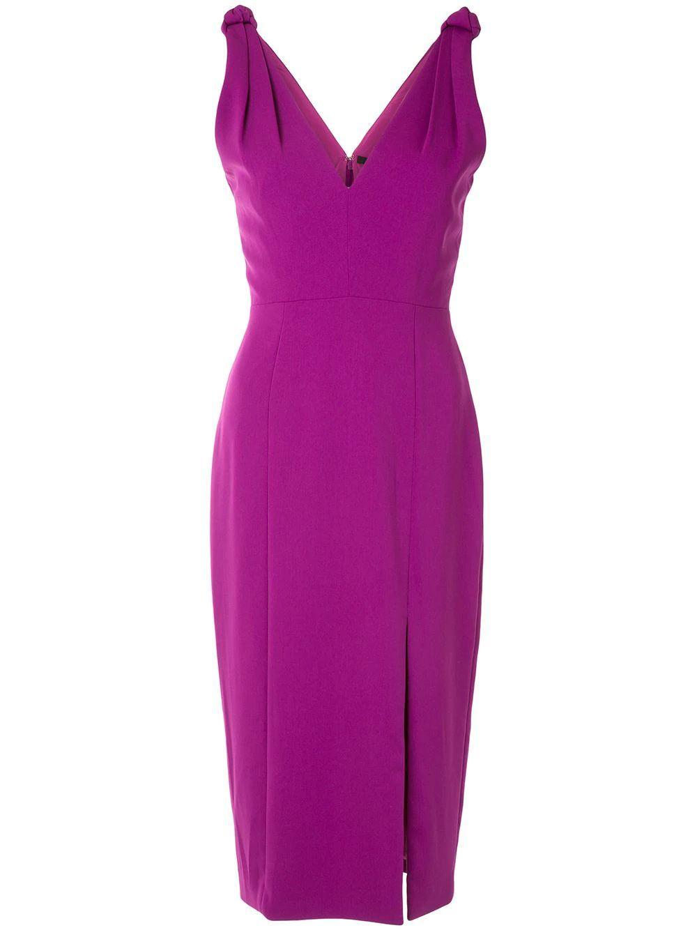 Violet Knot Shoulder Midi Dress