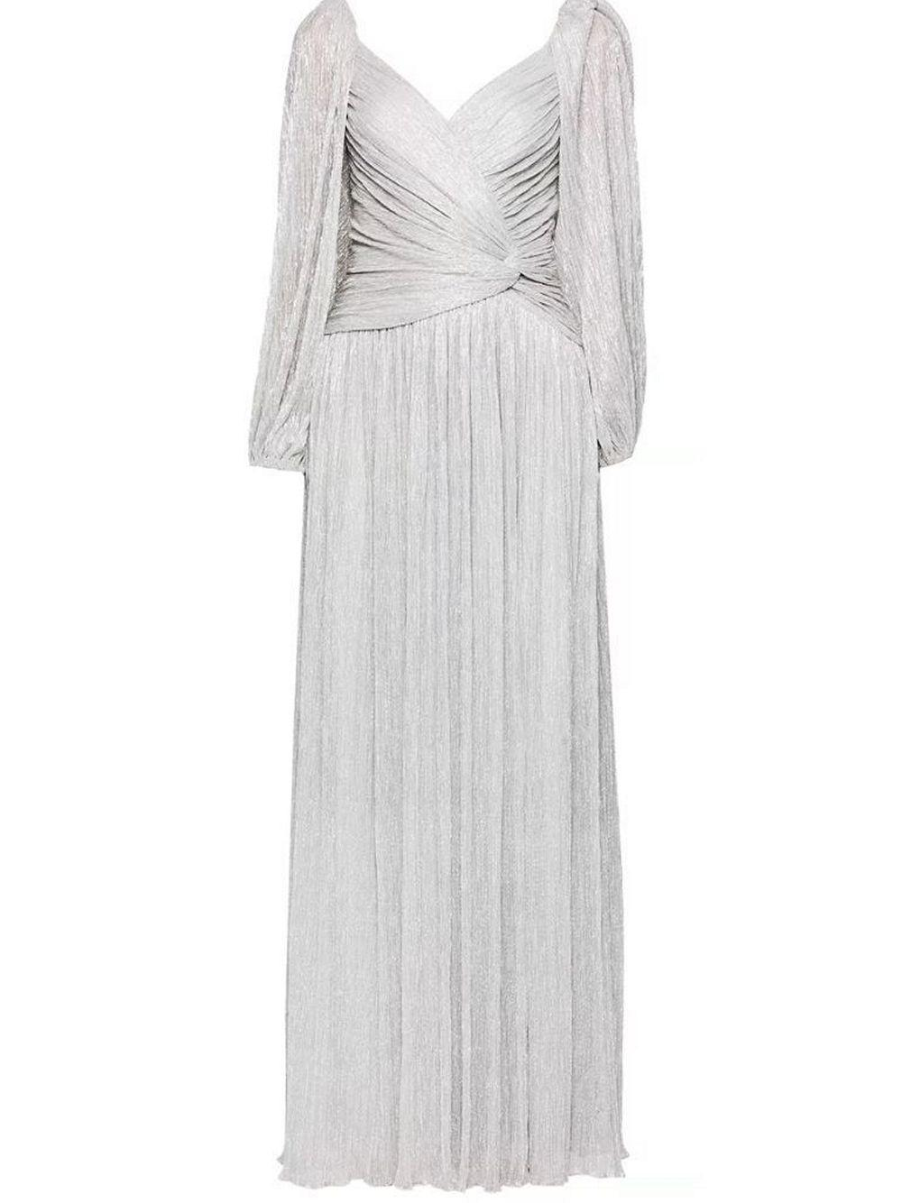 Adele Plisse Lame Wrap Gown Item # 320-1016-M