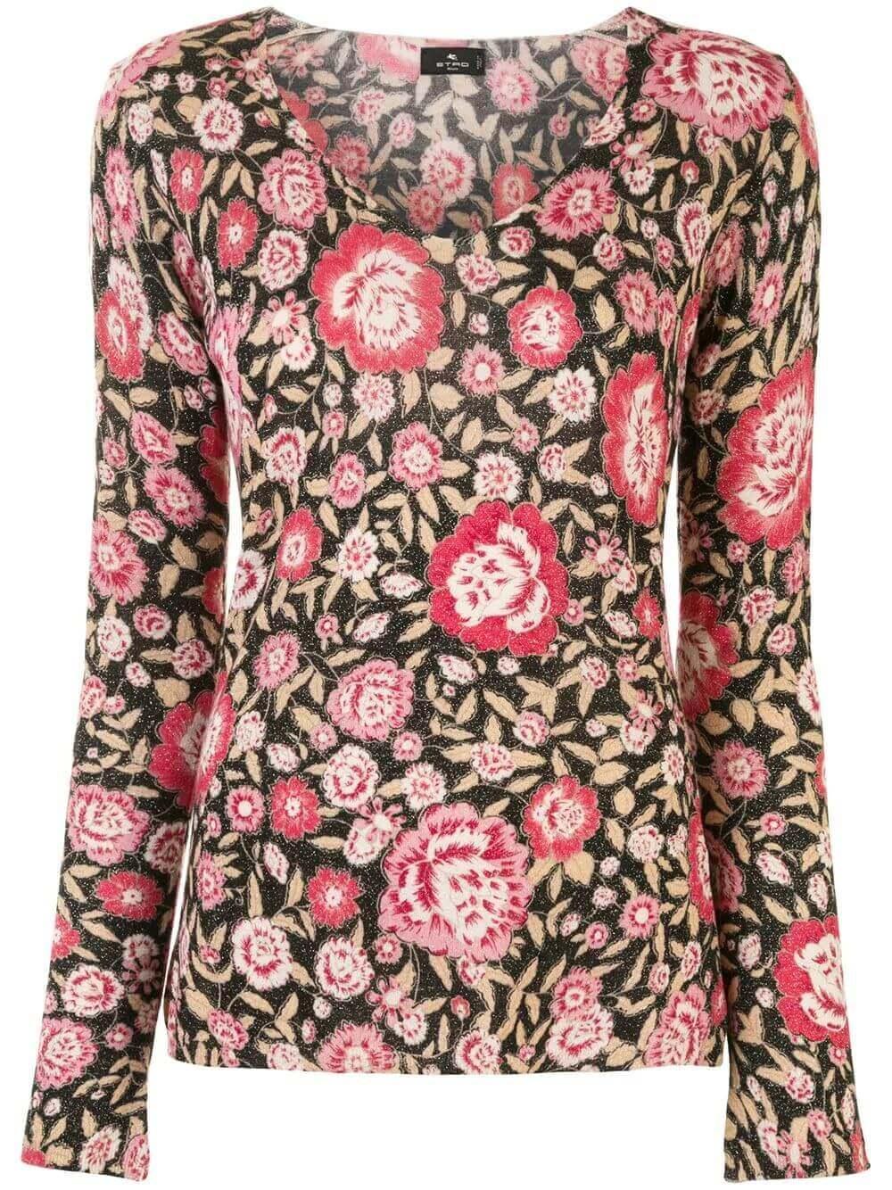 Floral Lurex V Neck Top Item # 19362-9174