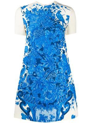 Floral Vase Print Mini Dress