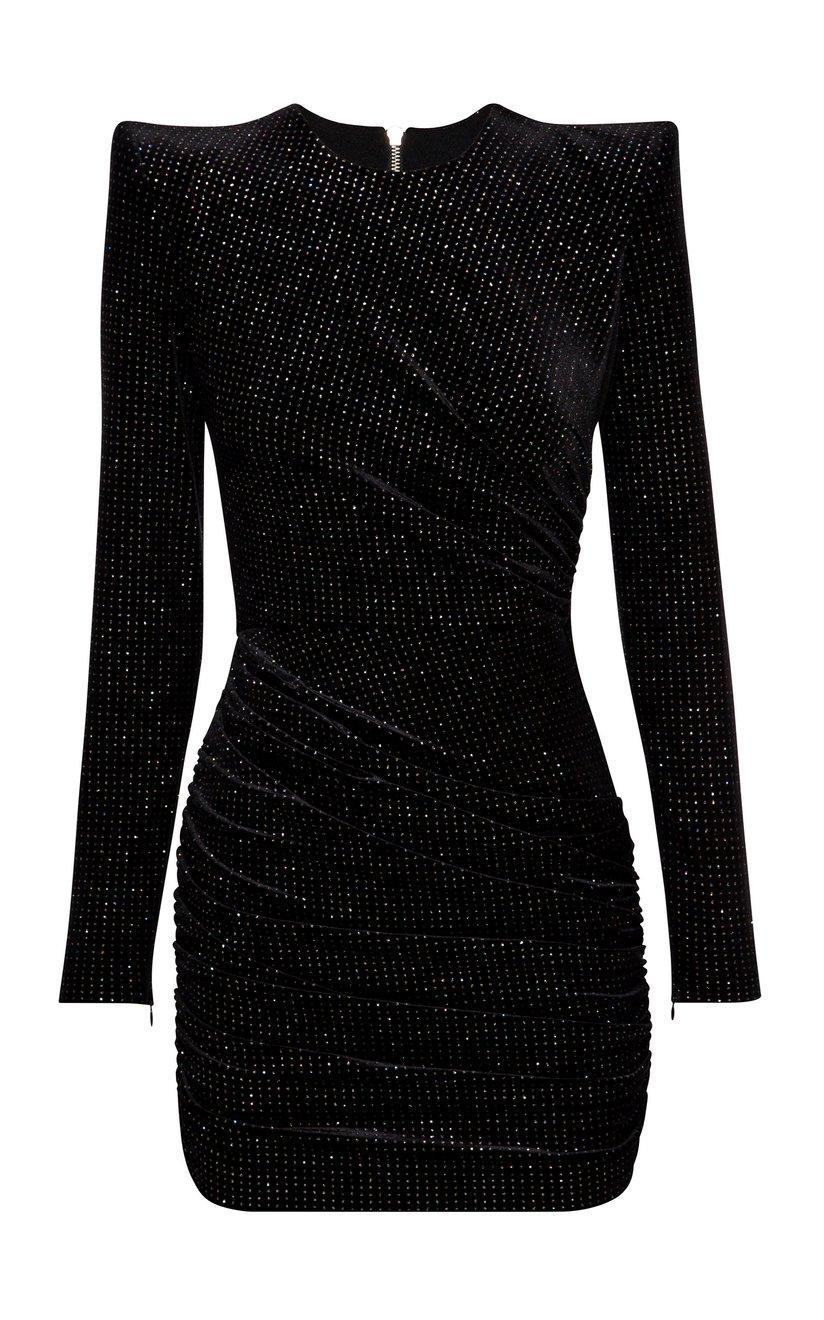 Raine Glitter Velvet Mini Dress Item # D675